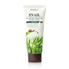Крем для ног и рук с муцином улитки Deoproce Snail Recovery Moisture Hand & Foot