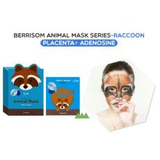 Маска тканевая с плацентой и аденозином, енот Berrisom Animal Mask - Racoon