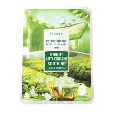 Маска тканевая на основе экстрактов алоэ и зеленого чая Deoproce Color Synergy Effect Sheet Mask Green