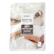 Маска тканевая на основе масла ши и рисовой воды Deoproce Color Synergy Effect Sheet Mask White