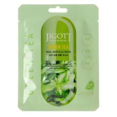 Маска тканевая для лица с зеленым чаем Jigott Angel's In The Sky Real Ampoule Mask Green Tea